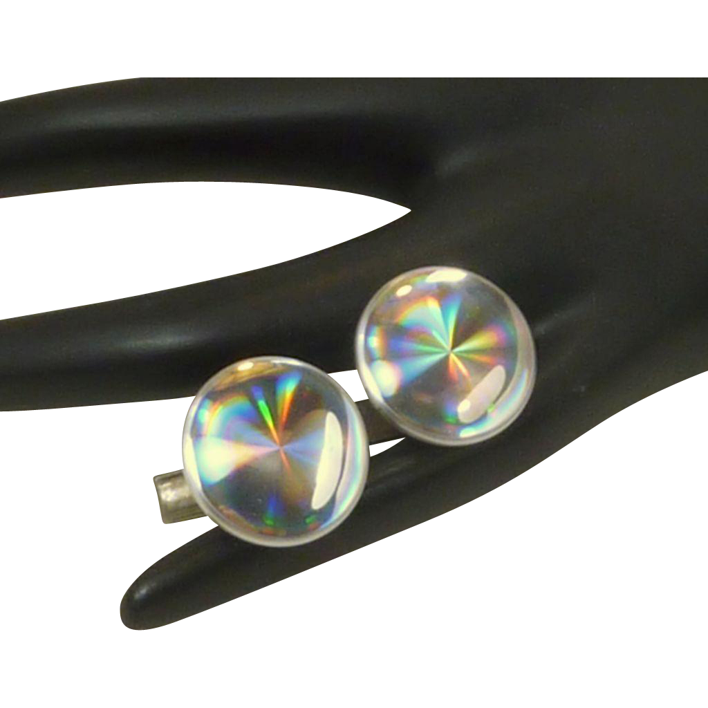 Kaleidoscope Type Silver Tone Cufflinks Cuff Links