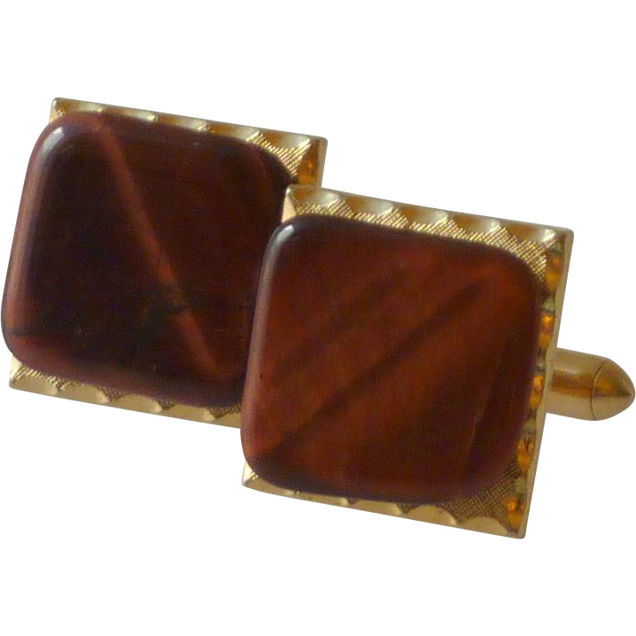 Tiger Eye Stone Mounted on Gold Tone Setting Cufflinks Cuff Links
