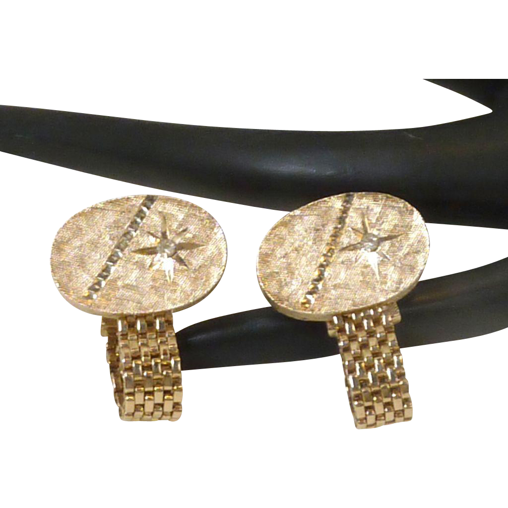 Brush Gold Tone with Diamond Rhinestone Wrap Around Cufflinks Cuff Links