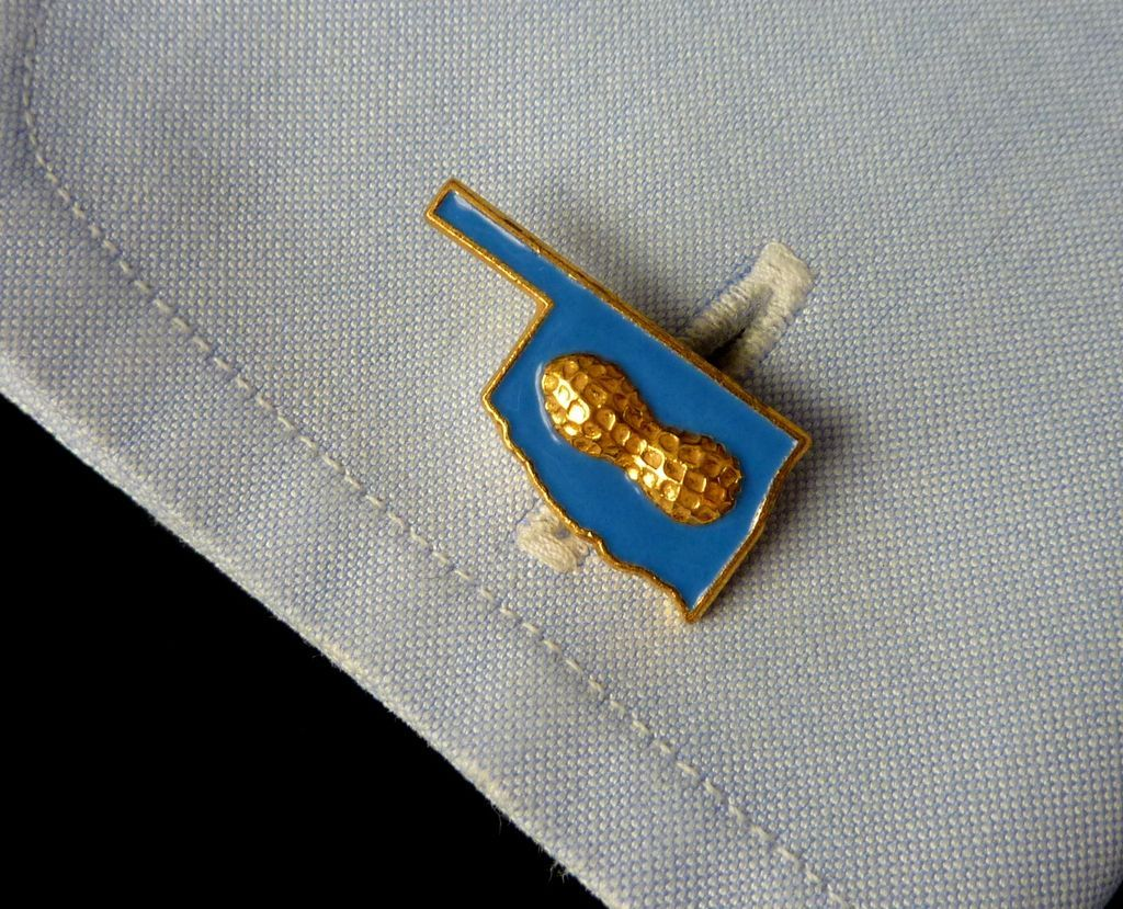 Oklahoma Shape with Peanut on top Cufflinks Cuff Links