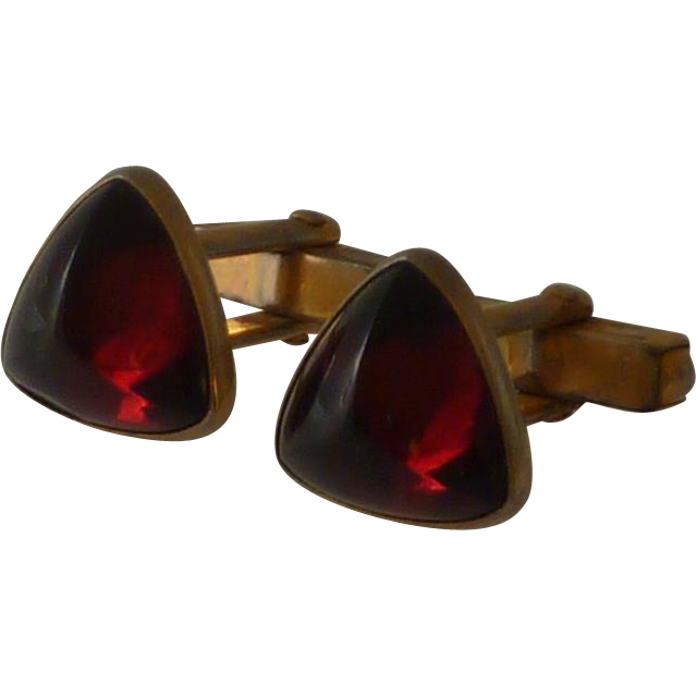 Swank Red Domed Triangle Stone in Gold Tone Cufflink Cuff Links