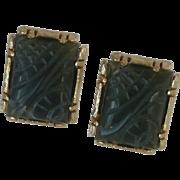 Anson Dark Green Soap Stone Cufflinks Cuff Links