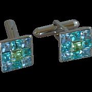 Small Blue and Green Silver Tone Rhinestone Cuff Links Cufflinks