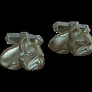 Silver Tone French Bull Dog Swank Cufflinks Cuff Links
