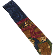 Mario Valentino Novelty Commuter Train Bus Silk Tie