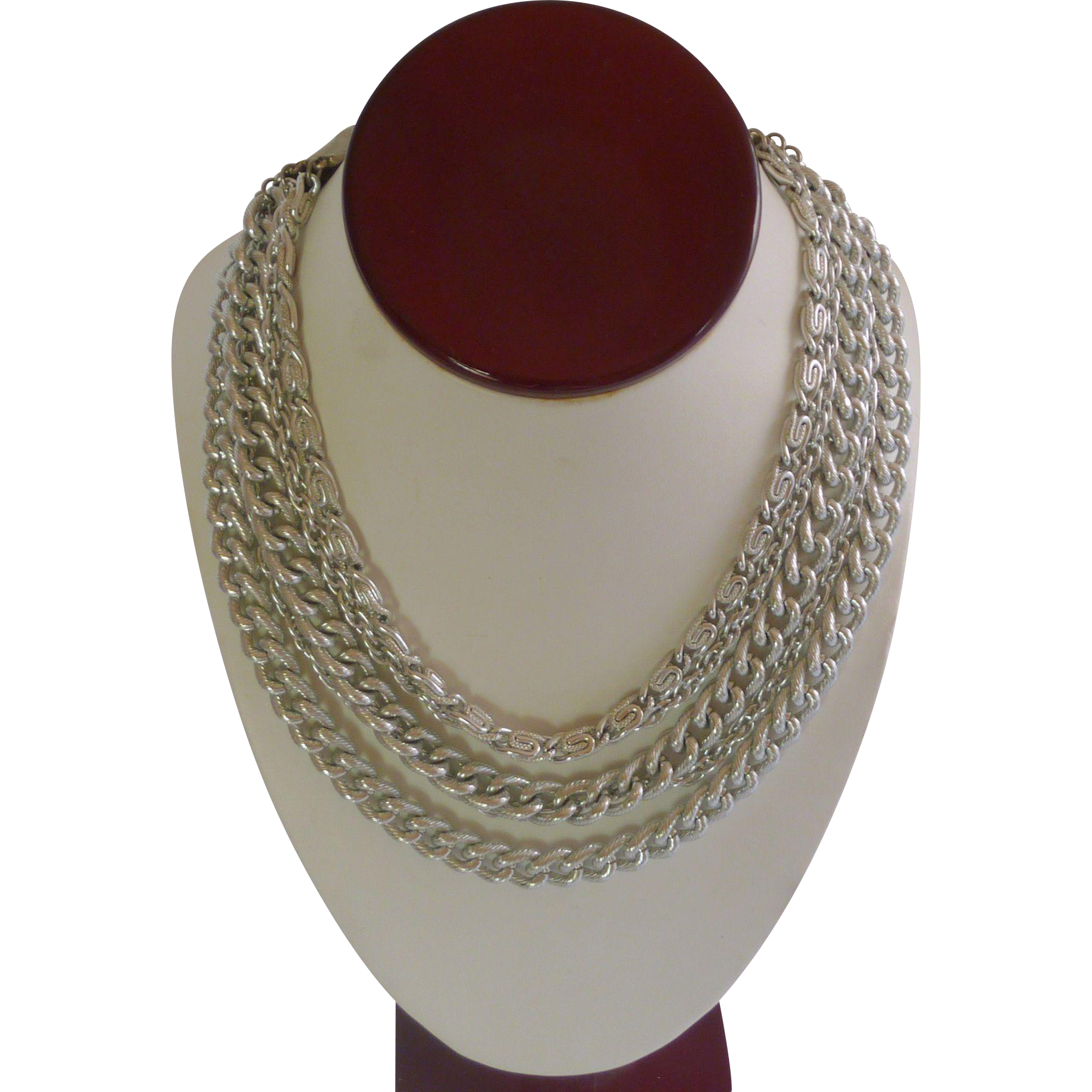 Silvered Toned Five Strand Chain Necklace