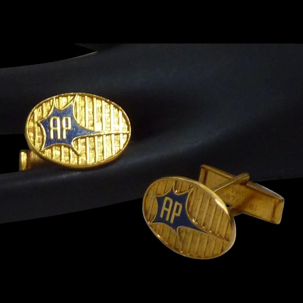 AP Initial Gold Tone Cufflinks Cuff Links