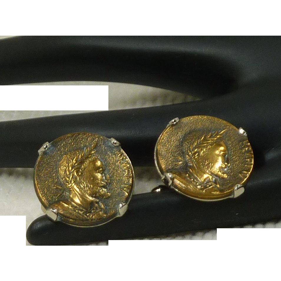 Hickok Henri IV Head Coin Gold Tone Cufflinks Cuff Links
