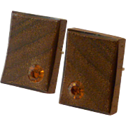 Wood Like with Topaz Colored Rhinestone Cufflinks Cuff Links