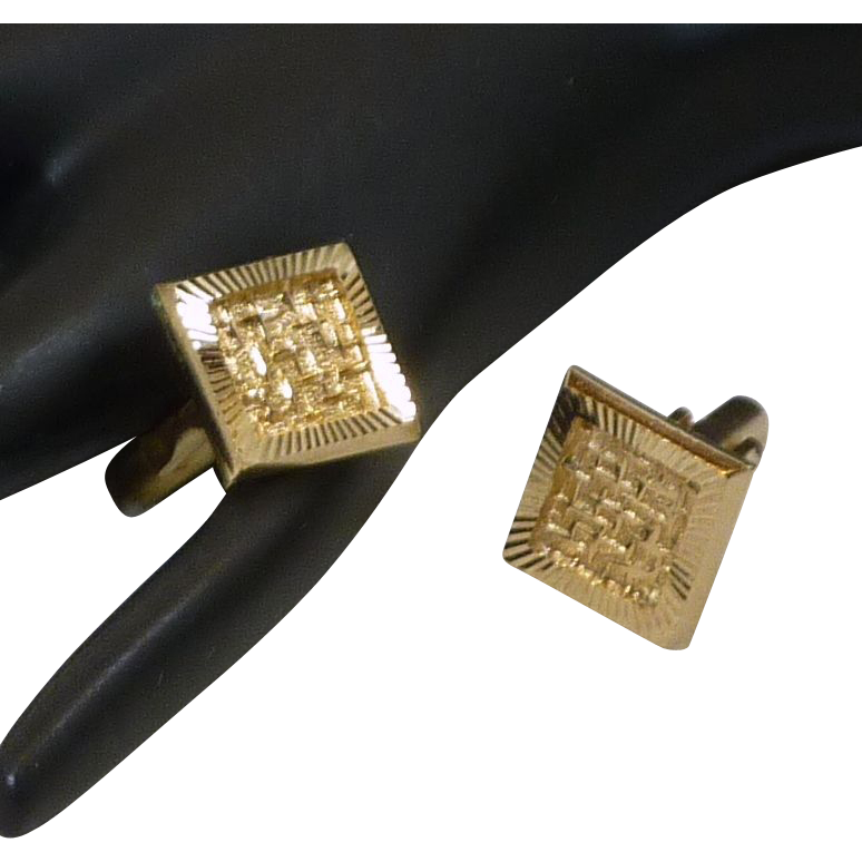 Abstract Design Square Gold Tone Cuff Links Cufflinks