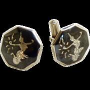 Siam Sterling Silver black Enamel Cufflinks Cuff Links