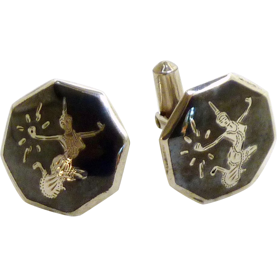 Siam Sterling Silver black Enamel Cufflinks Cuff Links