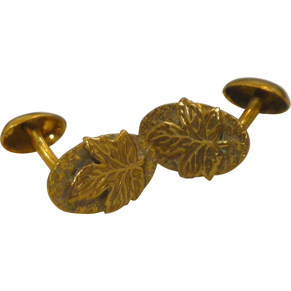 Gold Filled Leaf Cufflinks Cuff Links One Piece Oval Linkage