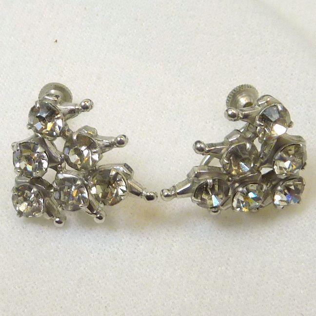 Diamond White Rhinestone Screw Type Earrings