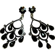 Jet Black Dangle Faceted Crystal Screw Earrings