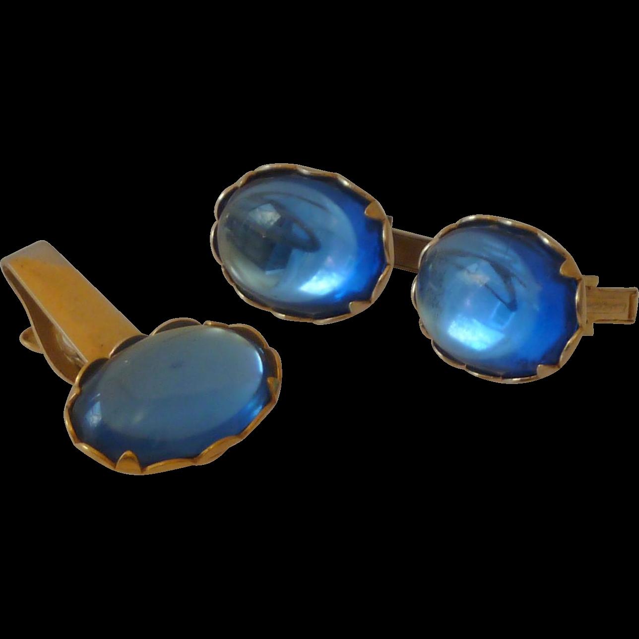 Big Bold Sky Blue Glass Oval Cufflinks Cuff Links
