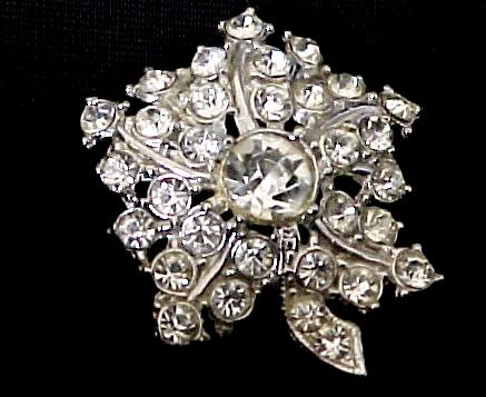 Diamond Rhinestone Flower Dress Pin