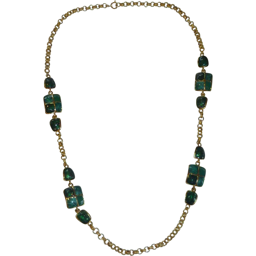 Green Enamel Gold Tone Necklace