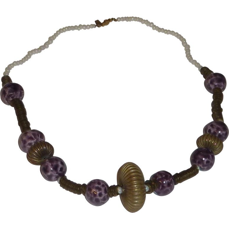 Purple Beads & Brass 1970's Necklace Marked me
