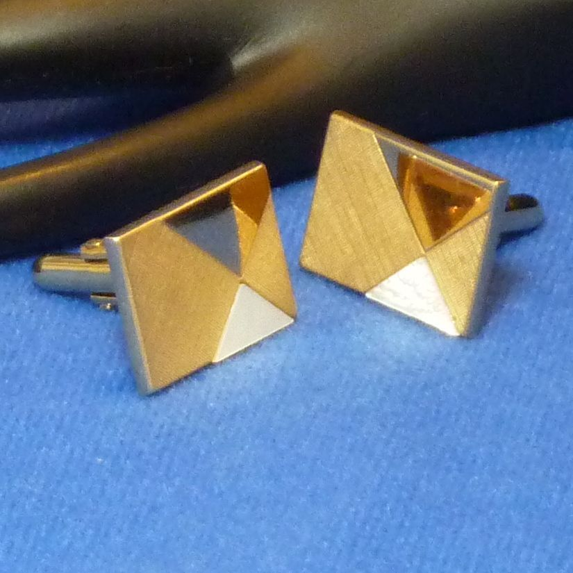 Rectangle Gold Geometric Shaped Cufflinks Cuff Links  Mother of Pearl Piece
