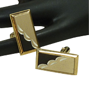 Gold Toned Frame with Black & Silver Toned Cufflinks Cuff Links