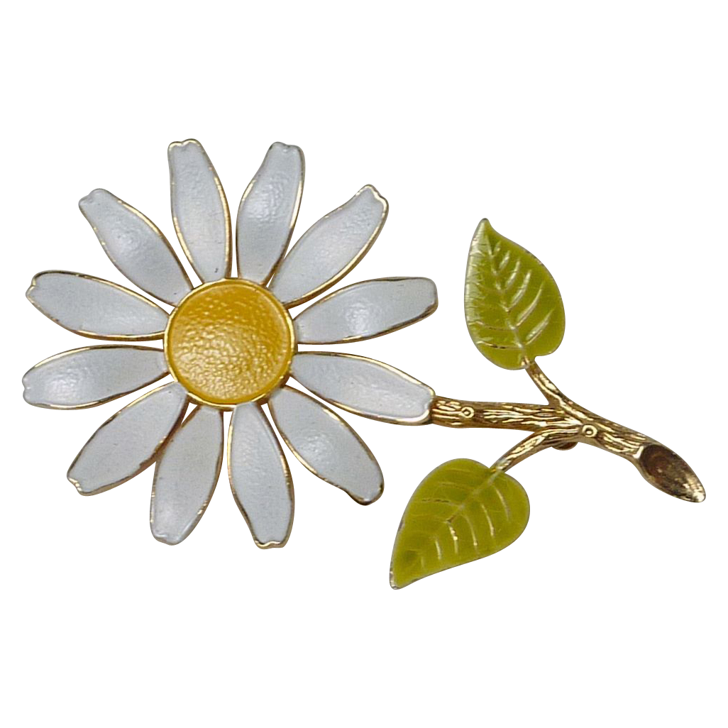White Daisy Flower Jewelry Pin
