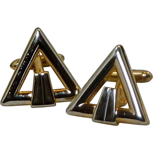 Swank Gold Tone Triangle Cufflinks Cuff Links