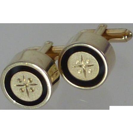 Cylinder Shape Gold & Black Tone Cufflinks Cuff Links
