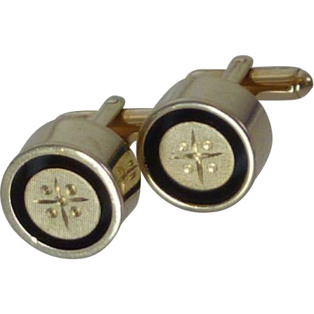 Cylinder Shape Gold & Black Tone Cufflinks Cuff Links