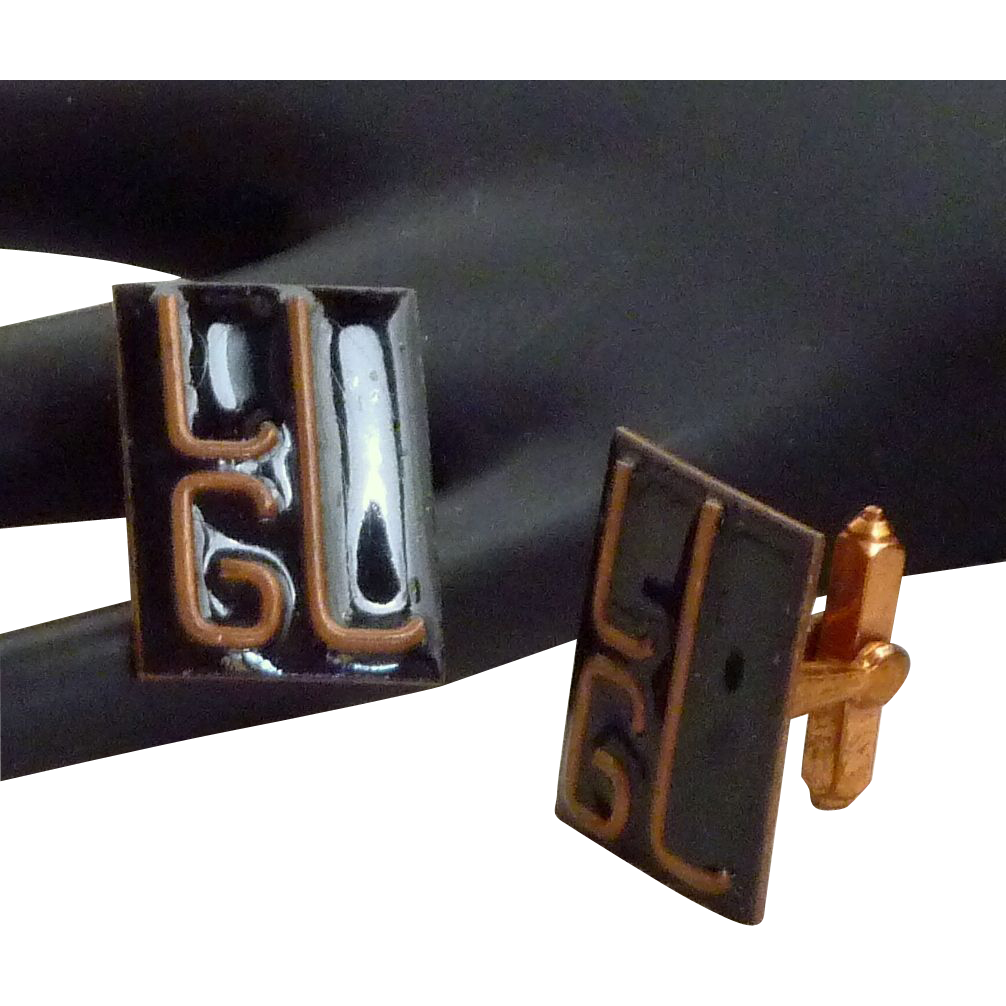 L G L  Initial Enamel Copper Cufflinks Cuff Links