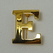 "Gold Tone Large Initial ""E"" Pin Brooch"
