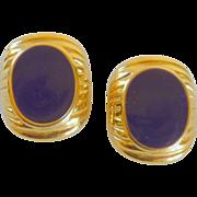 JS Marked Purple Gold Toned Clip Earrings