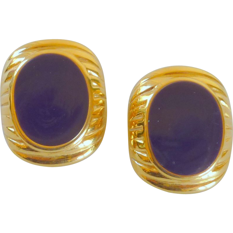 JS Marked Purple Gold Toned Clip Earrings