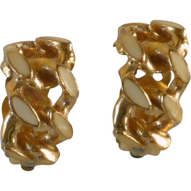 David Hill Clip On Half Loop Earrings Light Yellow Creme