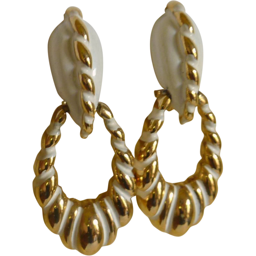 Vendome White and Gold Tone Screw Loop Earrings