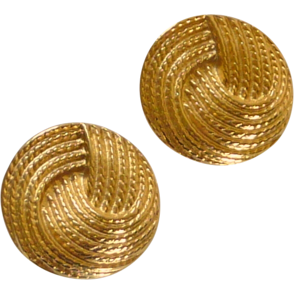 Round Gold Tone Napier Screw Type Earrings