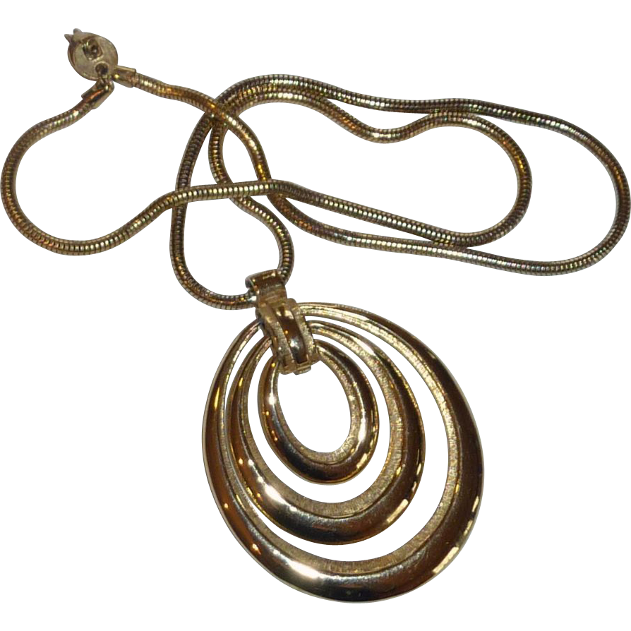 Large 3 Loop Pendant Gold Tone Snake Rope Necklace