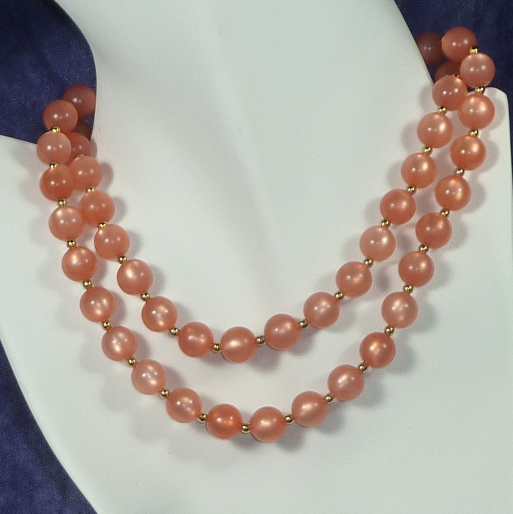 Peach Luminous Bead Necklace