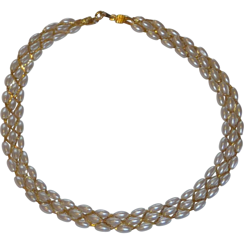 Beautiful Pearl and Gold Plated Necklace