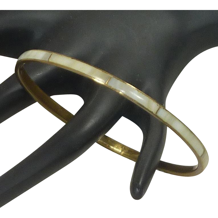 Mother of Pearl Bangle Brass Bracelet