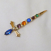 Sword Rhinestone Sterling Pin / Brooch