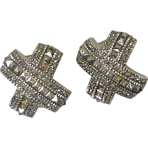 "Silver Tone ""X Marks the Spot"" Clip on Earrings"