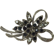 Black and White Rhinestone Silver Toned Pin