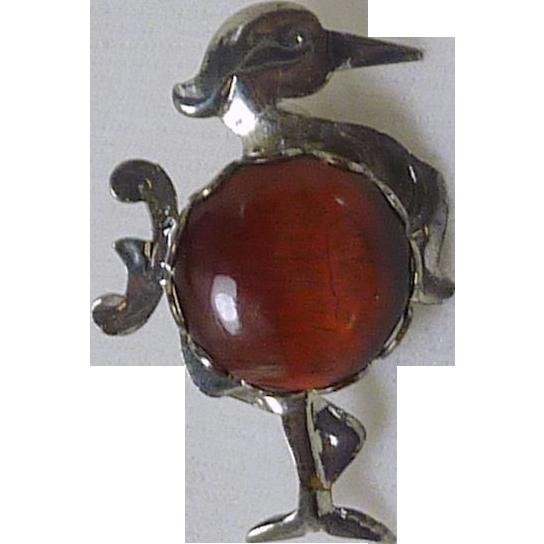 Rare Binghamite Stone Silver Tone Stork Bird Pin