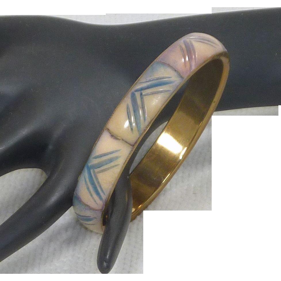 Bangle Bracelet with Blue / Pink ICarved Inserts