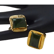 Gold Tone Jade Cuff Links Cufflinks
