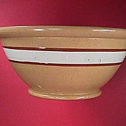 c1860 Large Yellowware Bowl with White Slip Band and Brown Mocha Borders