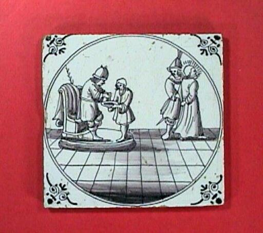 c1720 English Purple Manganese Biblical Delft Tile with Pontius Pilate and Jesus (Matthew 27:24)