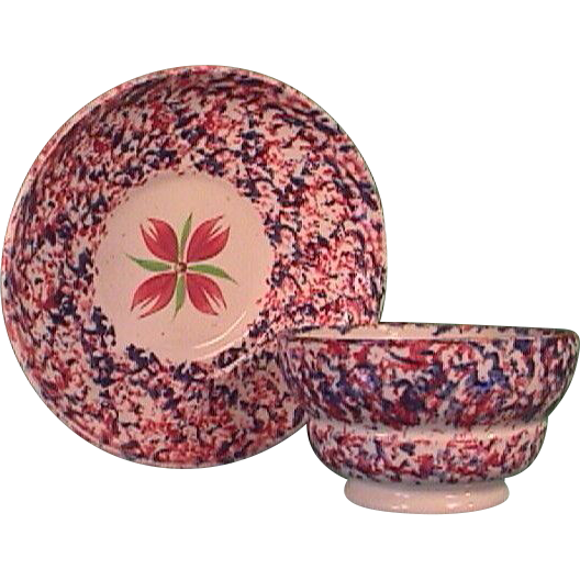 c1835 Staffordshire red and blue Sponged Spatterware handleless cup and saucer
