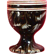 c1860 Creamware Egg Cup with mocha brown slip and white feathered decoration (impressed MacIntyre mark)